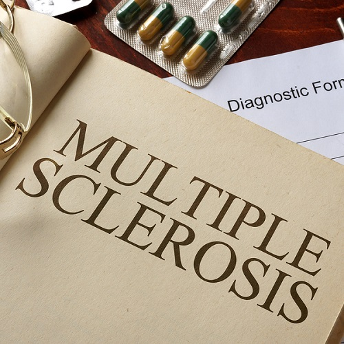 Book with diagnosis multiple sclerosis.