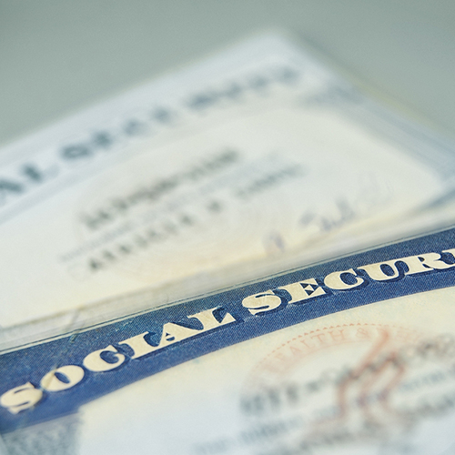 A closeup of US Social Security cards.