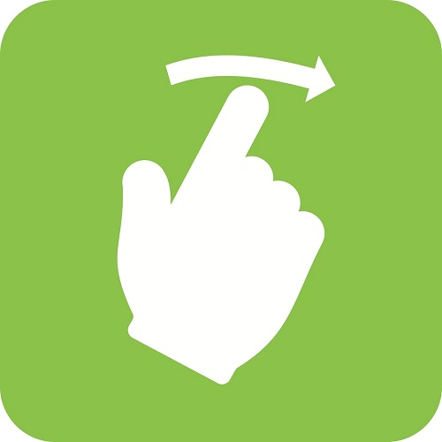 Icon of a hand swiping right.