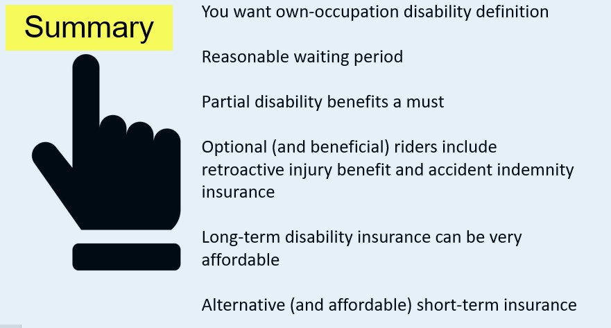 summary which describes a disability insurance for mechanics
