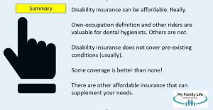 to summarize article on disability insurance for dental hygienists and dental assistants
