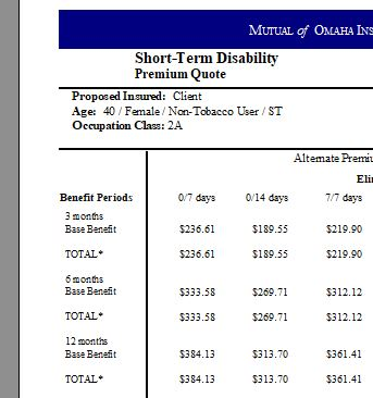 to show short term disability insurance rates for dental hygienists and dental assistants