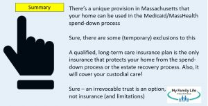 shows the summary how massachusetts residents can lose home without a long-term care insurance policy