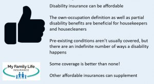 Summary for disability insurance for housekeepers and housecleaners