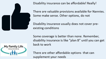 to show benefits of disability insurance for nannies
