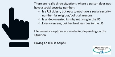 to show which categories of people are eligible for life insurance without a social security number