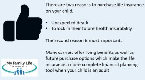 shows the main reasons to purchase life insurance on your children
