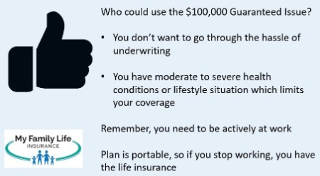 to show who can use the guaranteed issue life insurance 100k