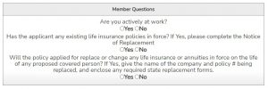 shows the questions for the guaranteed issue life insurance 100k