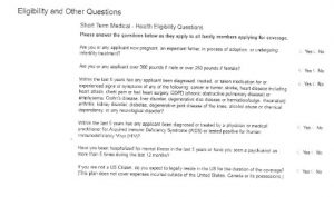 to show canadians living in the USA health questions for short-term medical insurance
