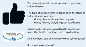 to show requirements for someone with kidney disease to obtain burial insurance