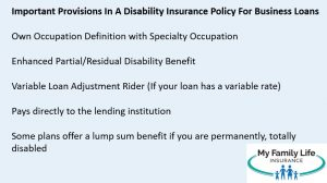 to show important provisions a disability insurance policy must have to protect business loans