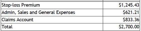 to show the employer costs in a self-funded health insurance plan for small business in Massachusetts