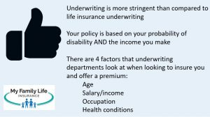 give a summary of disability insurance underwriting for millennials