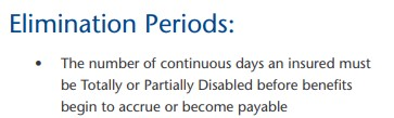 to show the definition of a disability insurance elimination period from a carrier