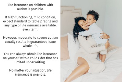 to show options for life insurance for children with autism